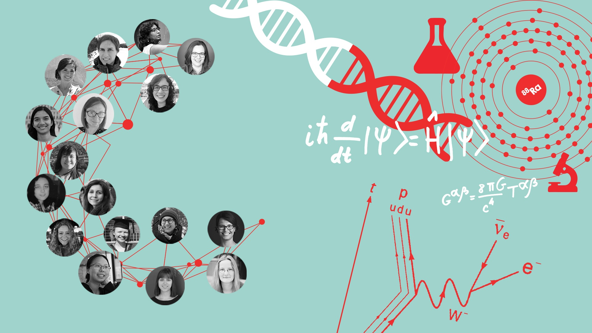 Illustration with women's faces and some science graphics