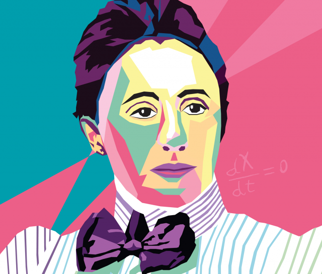 Graphic illustration of Emmy Noether portrait