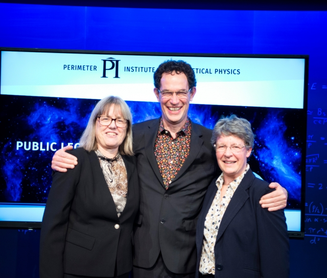 Group shot of Donna Strickland, Neil Turok and Jocelyn Bell Burnell