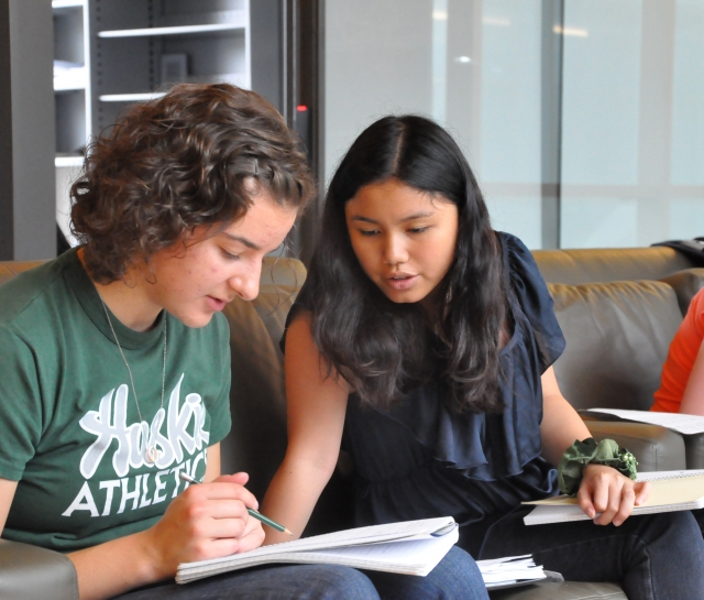 Two students working together on their homework