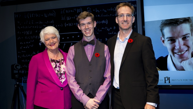 Sean Begy, recipient of the Luke-Santi Memorial award, posing with with Ontario Minister of Education Liz Sandals and Perimeter Outreach Director Greg Dick.