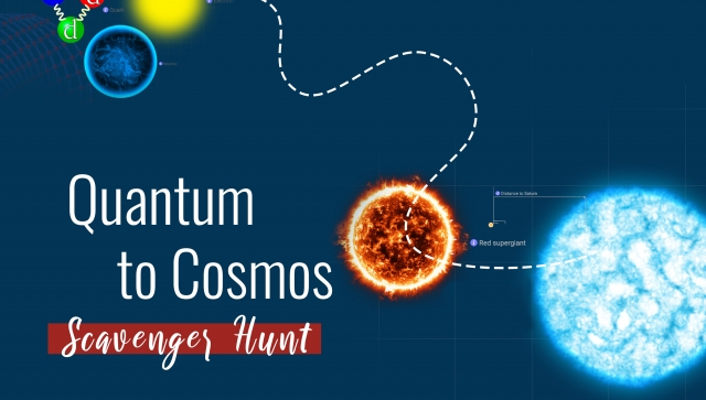 Stars and quarks on a blue background with Quantum to Cosmos text