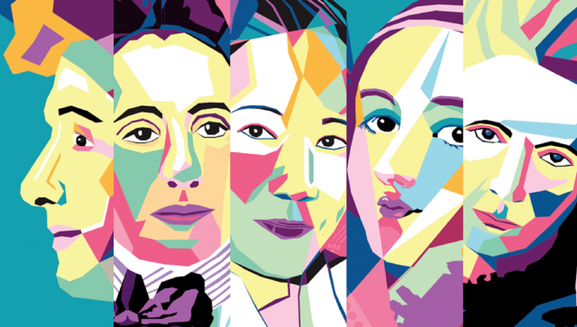 Illustration of famous women scientist faces