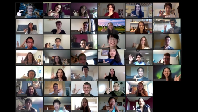 Collage of students in a zoom/online meeting