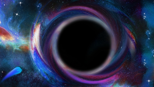 Galaxy image with a swirling black hole