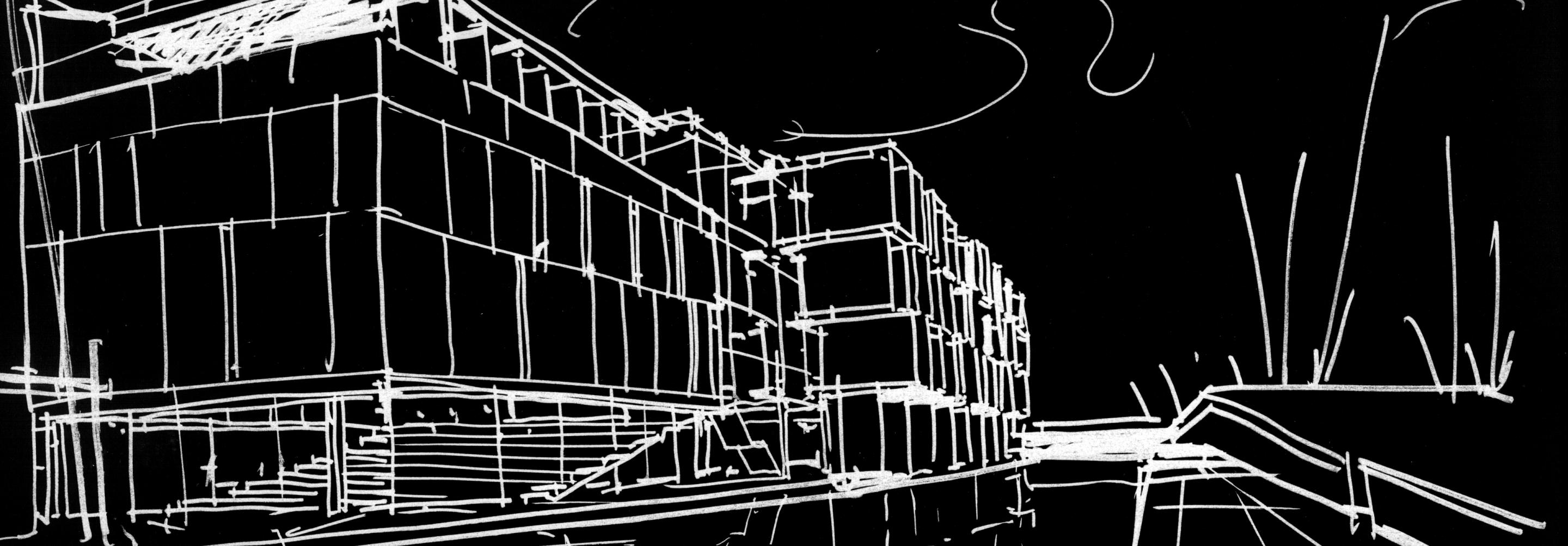 White sketch of the outside of a building on a black background