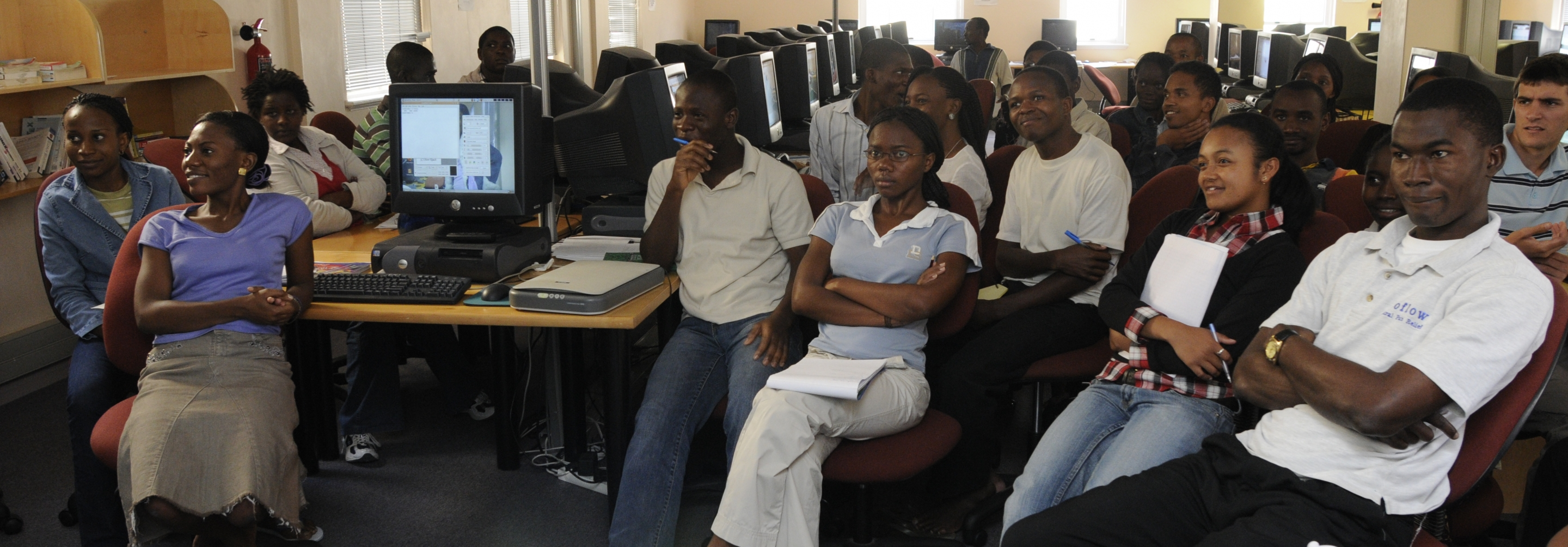 Group of African students in a computer lab