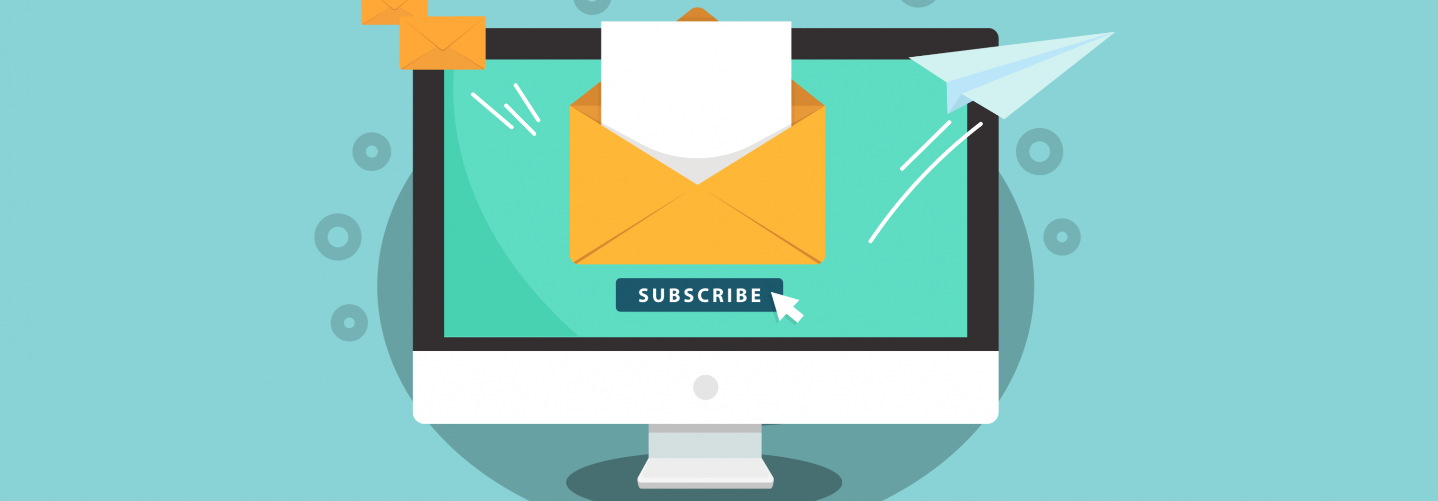 Illustration of a computer screen and Subscribe button with mail