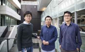 Beni Yoshida, Yin-Chen He, and Timothy Hsieh standing in the Perimeter atrium.