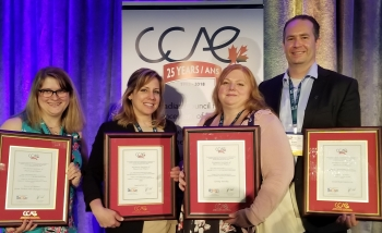 Perimeter Institute Outreach team with their the CCAE awards in Halifax.