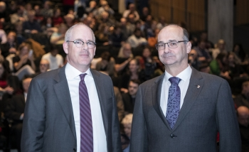 Iain Stewart and Robert Myers pose at the Perimeter Institute National Research Council partnership announcement